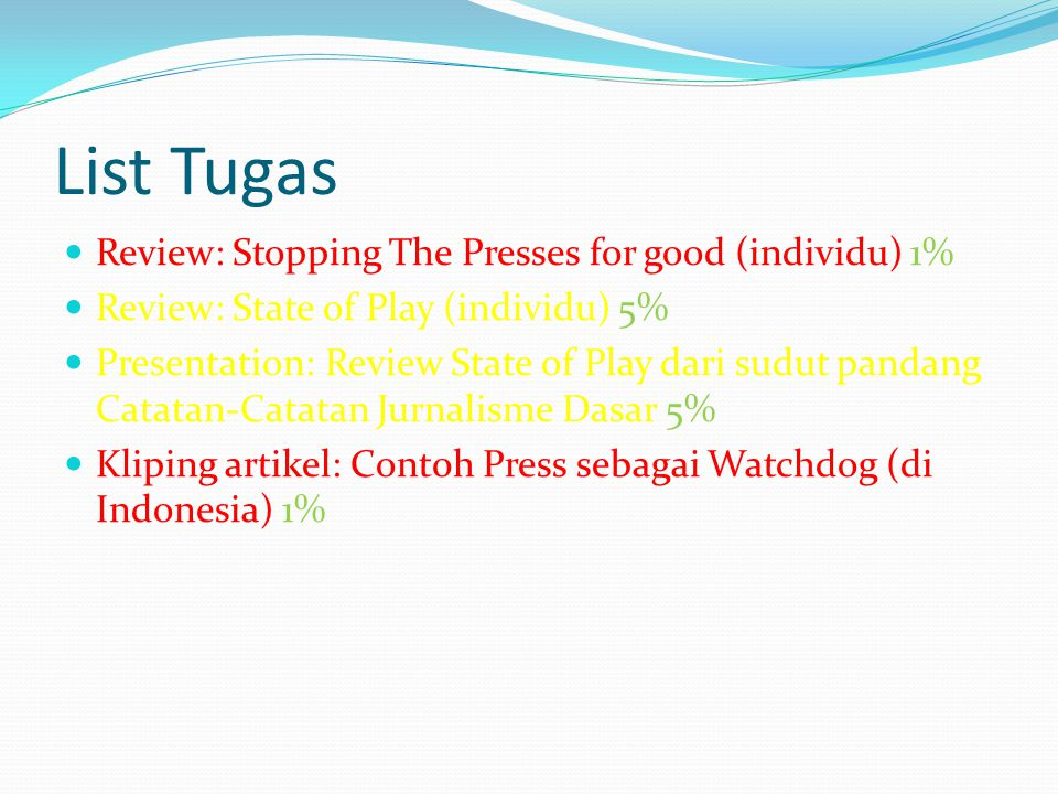 List Tugas Review: Stopping The Presses for good (individu) 1%