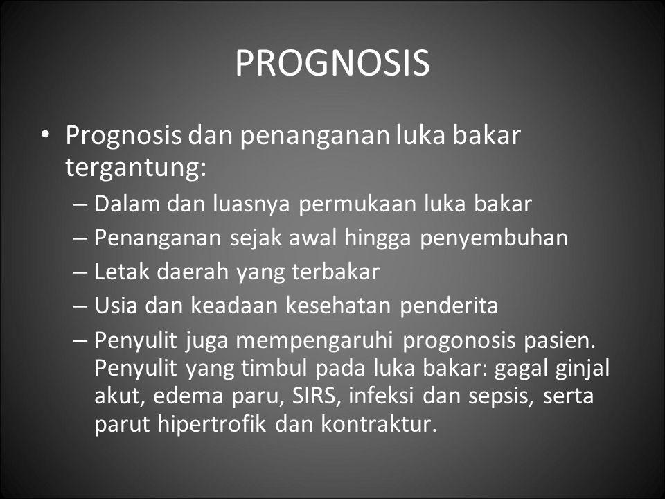 PROGNOSIS Prognosis dan penanganan luka bakar tergantung: