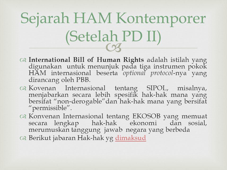 Sejarah HAM Kontemporer (Setelah PD II)