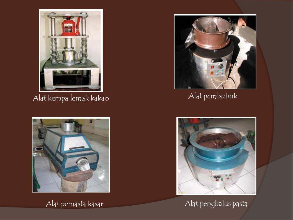 Alat pembubuk Alat kempa lemak kakao Alat pemasta kasar Alat penghalus pasta