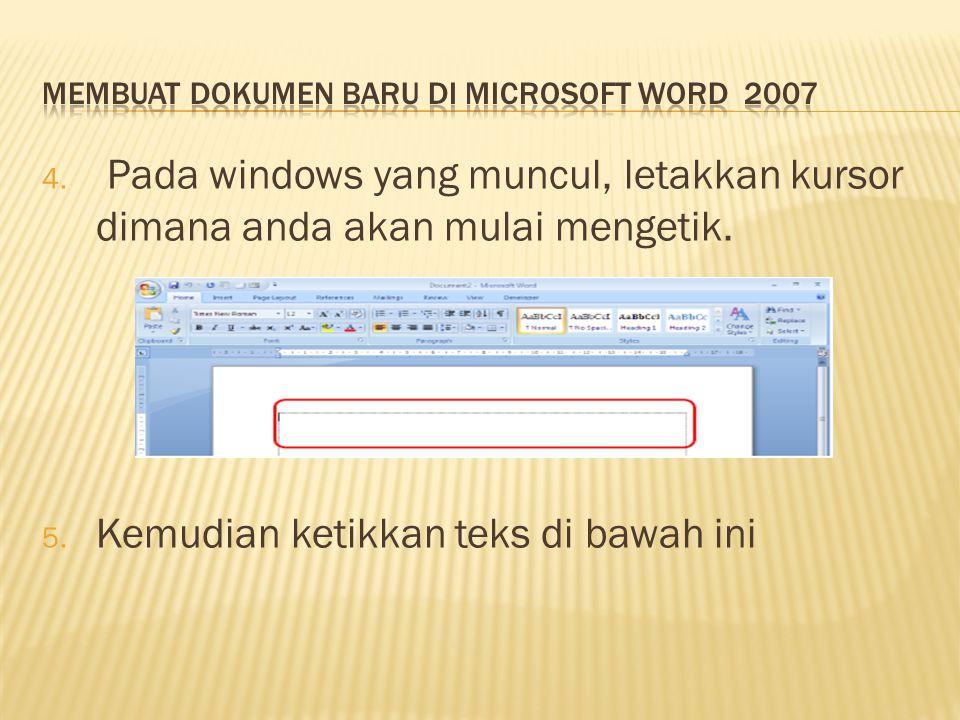 Membuat Dokumen Baru Di Microsoft Word 2007