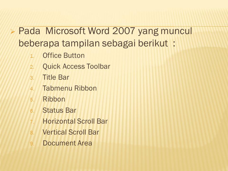 Pada Microsoft Word 2007 yang muncul beberapa tampilan sebagai berikut :
