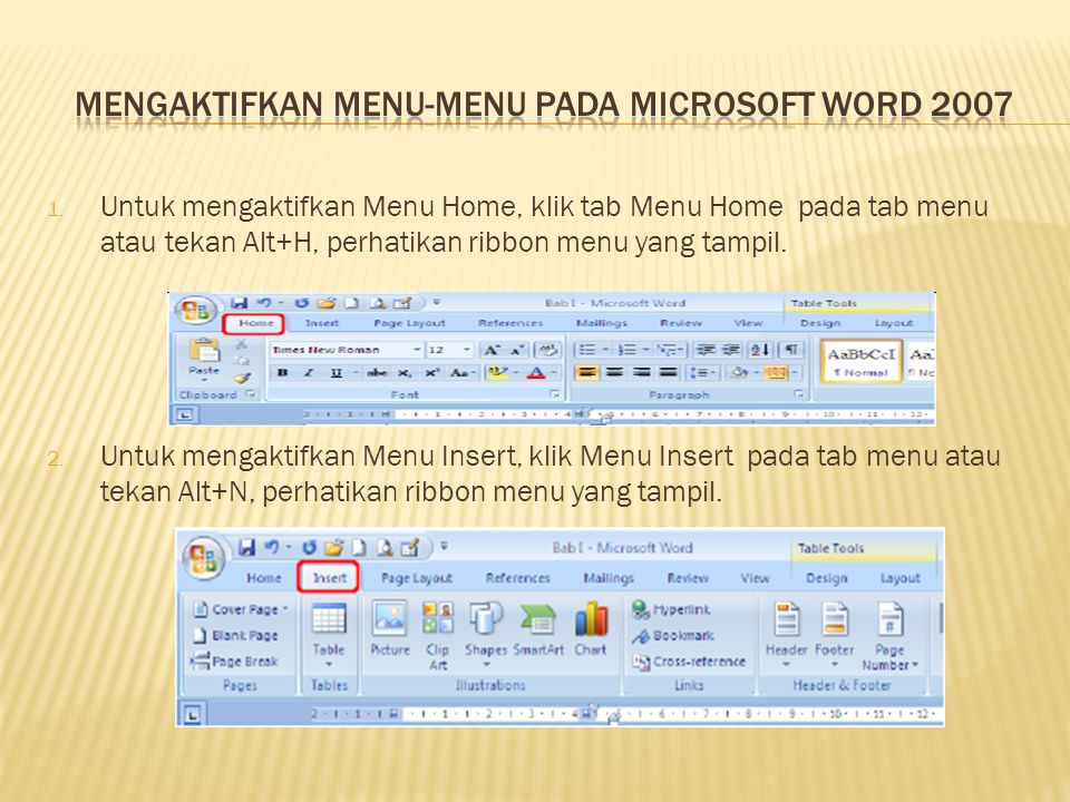 Mengaktifkan Menu-Menu Pada Microsoft Word 2007