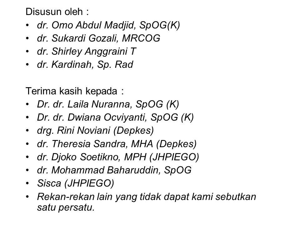 Disusun oleh : dr. Omo Abdul Madjid, SpOG(K) dr. Sukardi Gozali, MRCOG. dr. Shirley Anggraini T. dr. Kardinah, Sp. Rad.