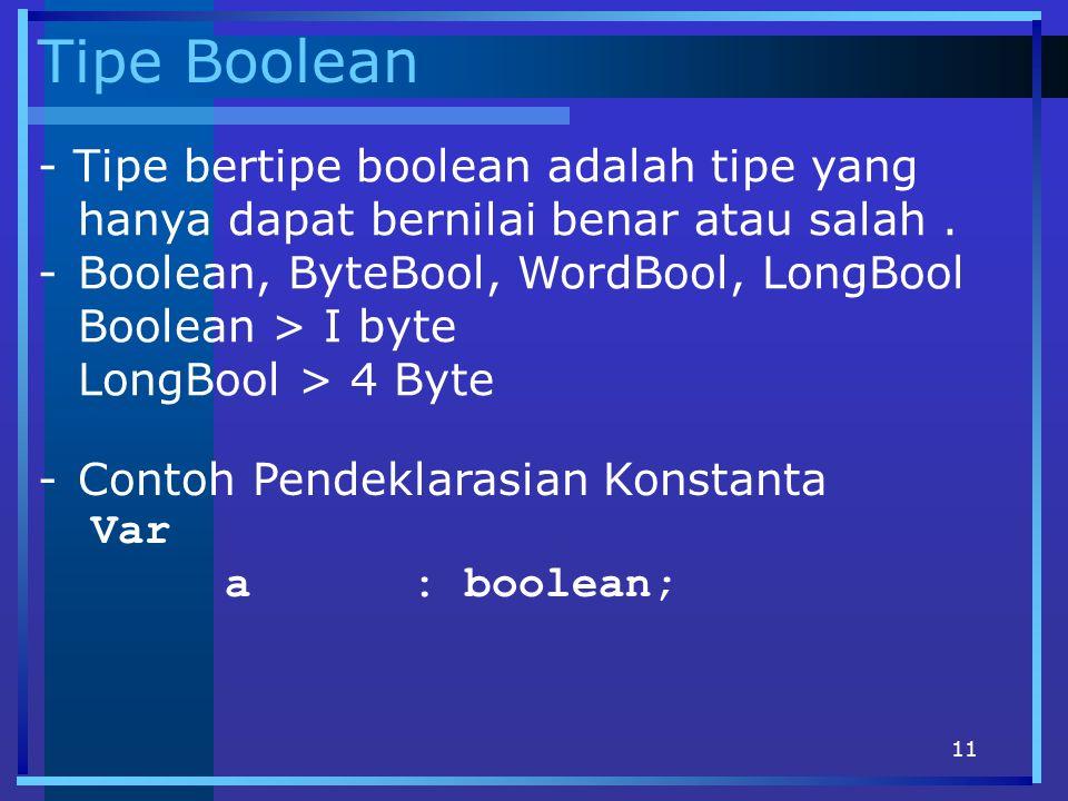 Tipe Boolean - Tipe bertipe boolean adalah tipe yang hanya dapat bernilai benar atau salah . Boolean, ByteBool, WordBool, LongBool.