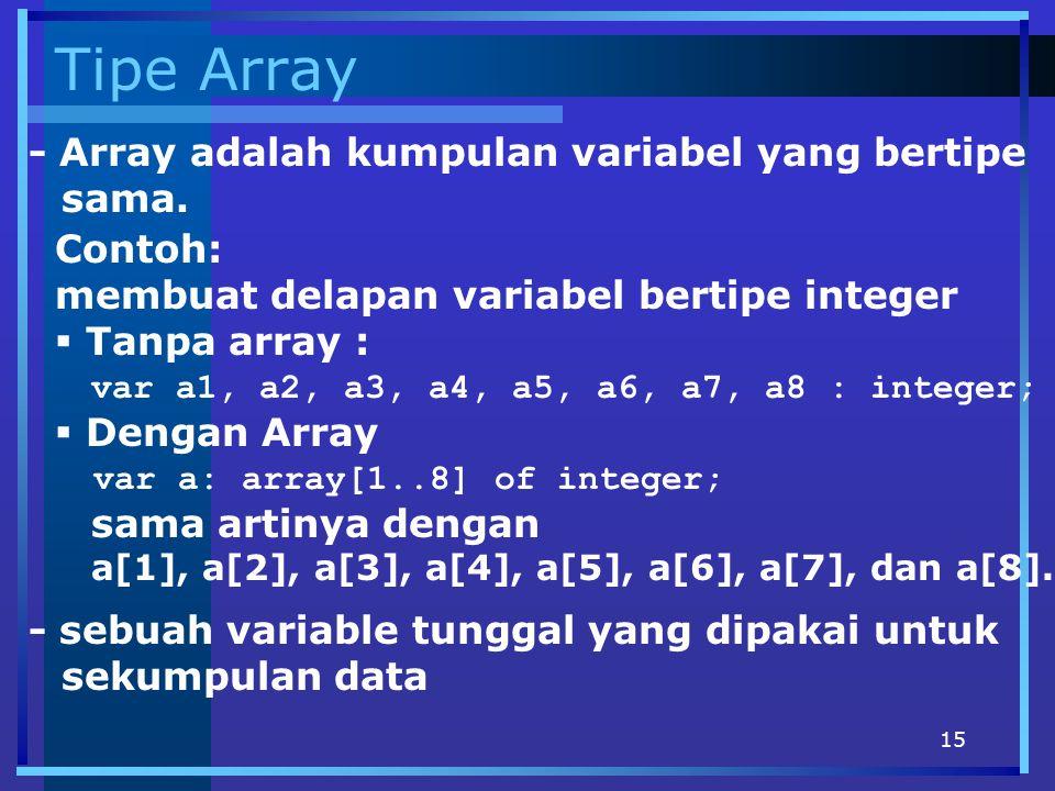 Tipe Array - Array adalah kumpulan variabel yang bertipe sama. Contoh: