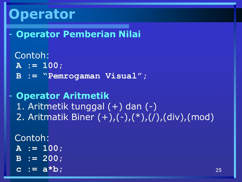 Operator Operator Pemberian Nilai Contoh: A := 100;