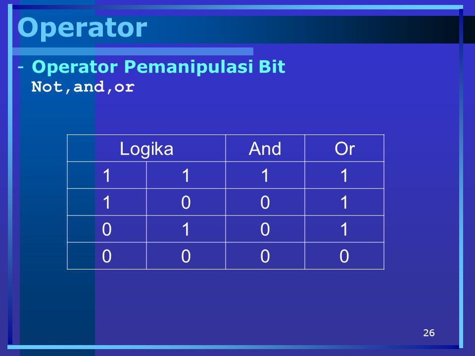 Operator Operator Pemanipulasi Bit Not,and,or Logika And Or 1