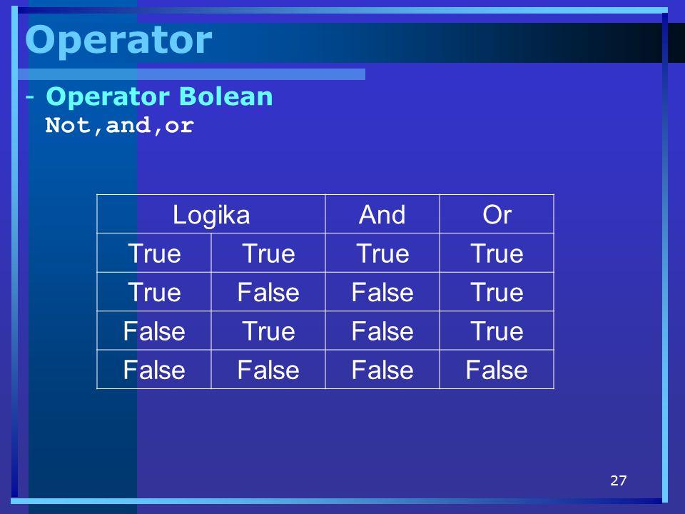 Operator Operator Bolean Not,and,or Logika And Or True False