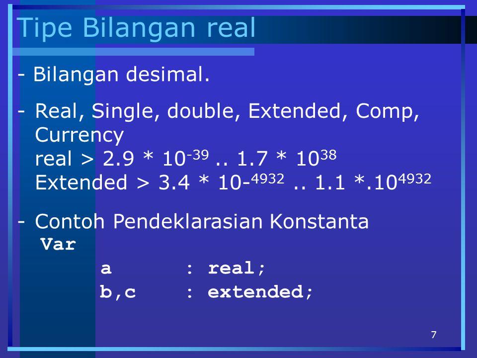 Tipe Bilangan real - Bilangan desimal.