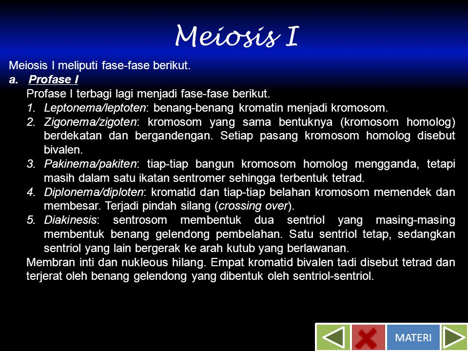 Meiosis I Meiosis I meliputi fase-fase berikut. a. Profase I