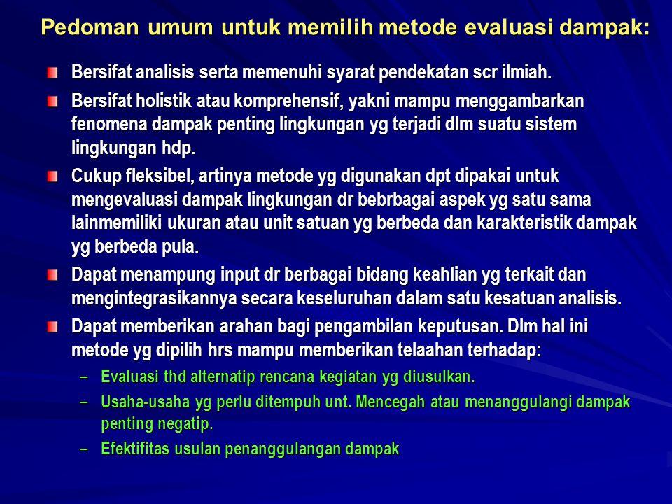 Pedoman umum untuk memilih metode evaluasi dampak: