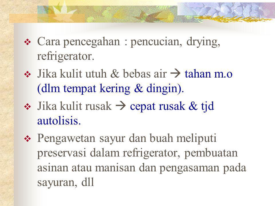 Cara pencegahan : pencucian, drying, refrigerator.