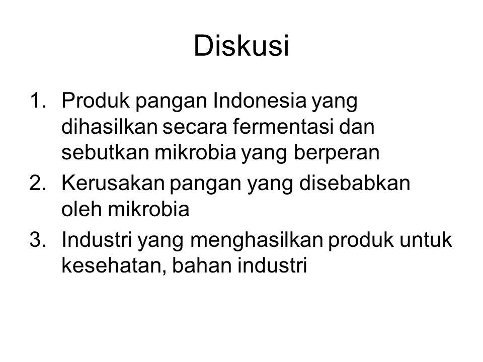 Diskusi Produk pangan Indonesia yang dihasilkan secara fermentasi dan sebutkan mikrobia yang berperan.
