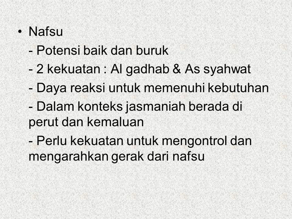 Nafsu - Potensi baik dan buruk. - 2 kekuatan : Al gadhab & As syahwat. - Daya reaksi untuk memenuhi kebutuhan.