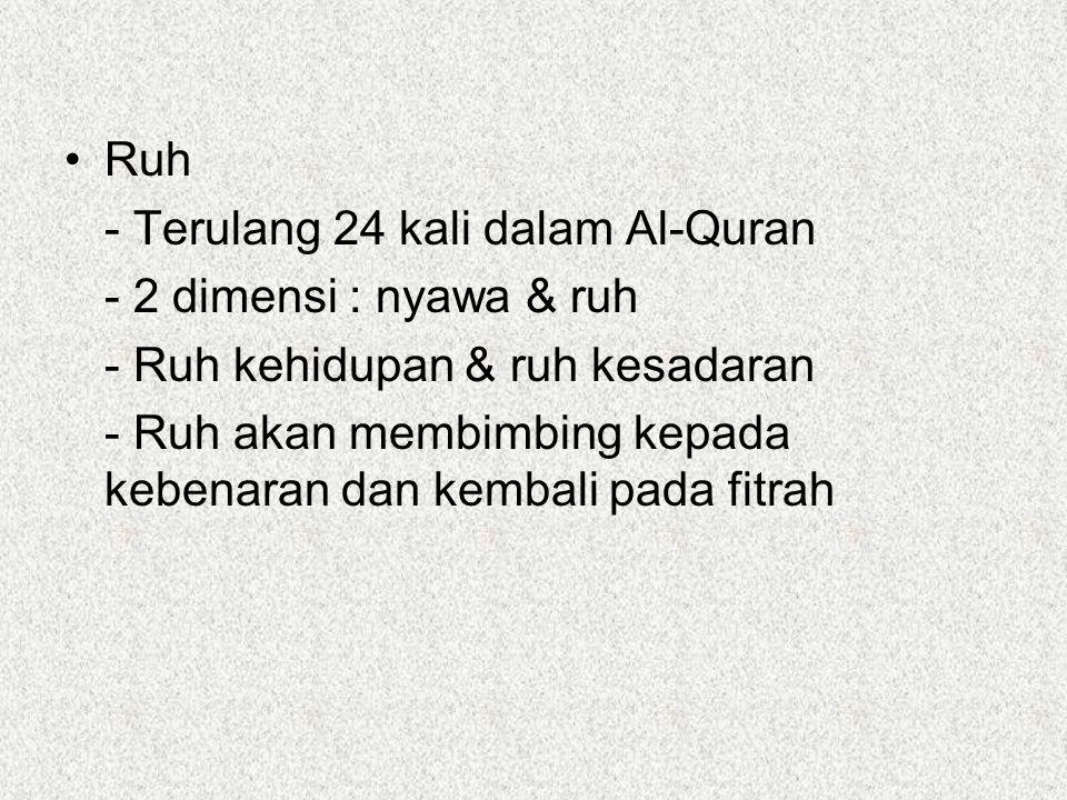 Ruh - Terulang 24 kali dalam Al-Quran. - 2 dimensi : nyawa & ruh. - Ruh kehidupan & ruh kesadaran.