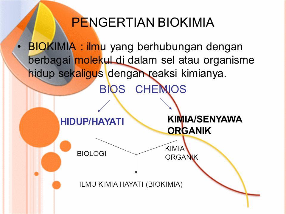 PENGERTIAN BIOKIMIA BIOKIMIA : ilmu yang berhubungan dengan berbagai molekul di dalam sel atau organisme hidup sekaligus dengan reaksi kimianya.