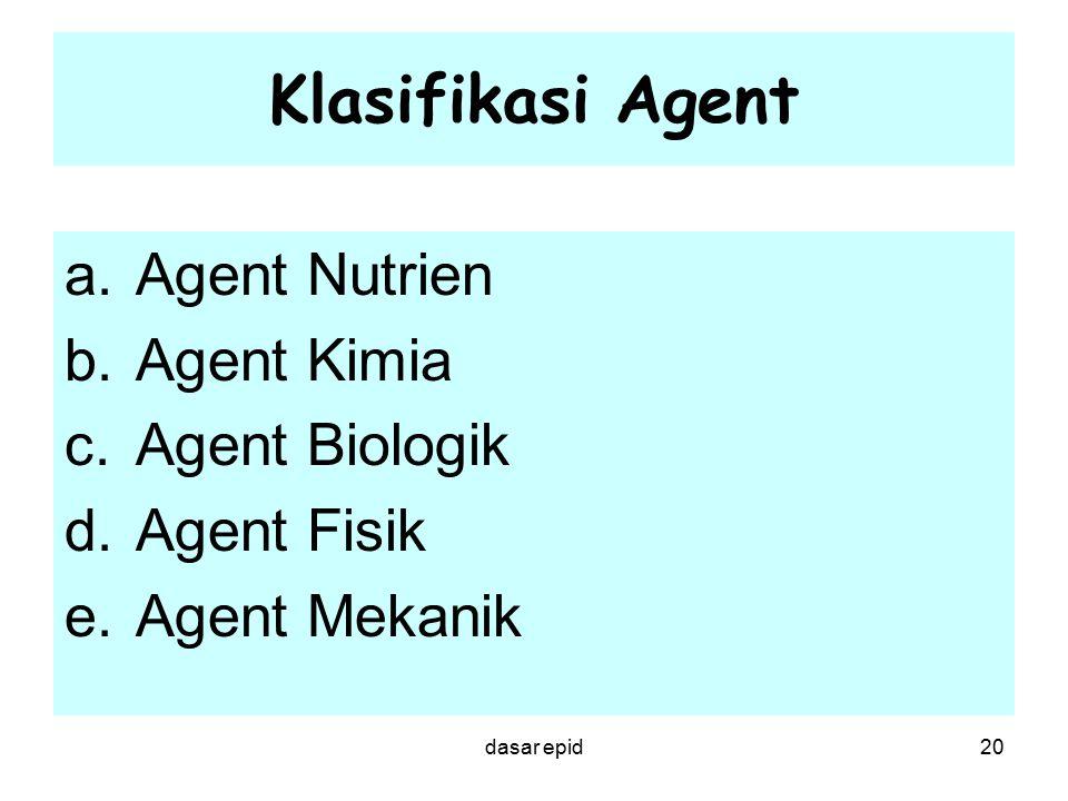 Klasifikasi Agent Agent Nutrien Agent Kimia Agent Biologik Agent Fisik