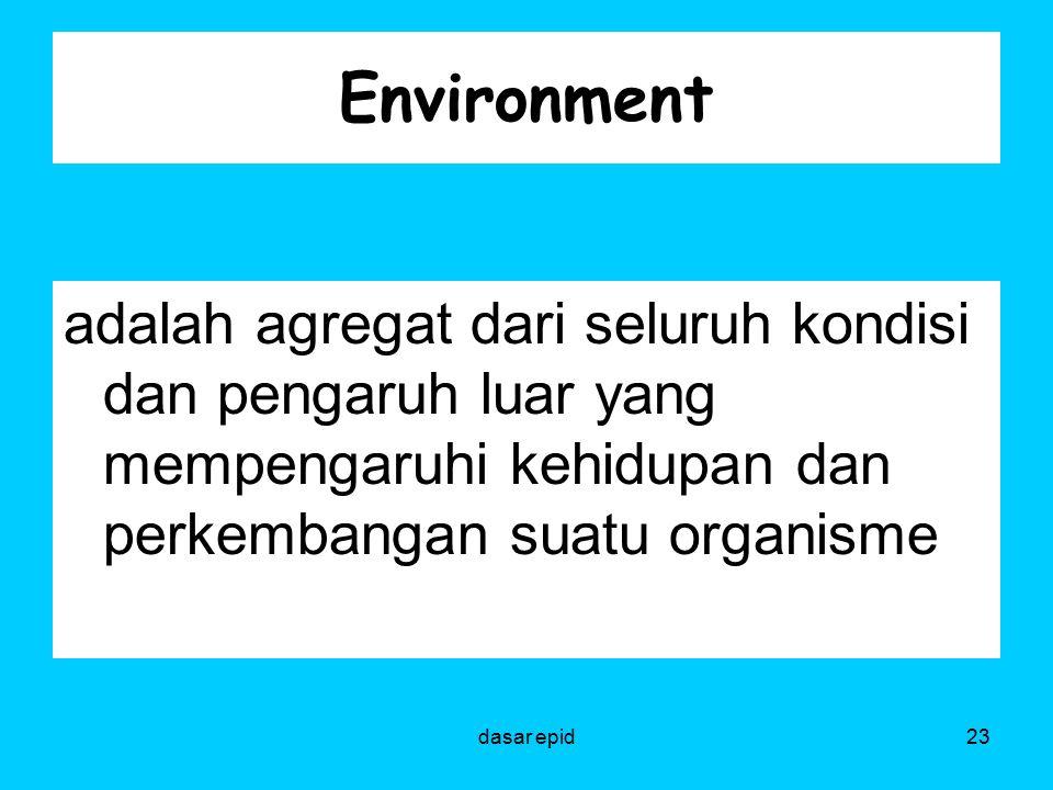 Environment adalah agregat dari seluruh kondisi dan pengaruh luar yang mempengaruhi kehidupan dan perkembangan suatu organisme.