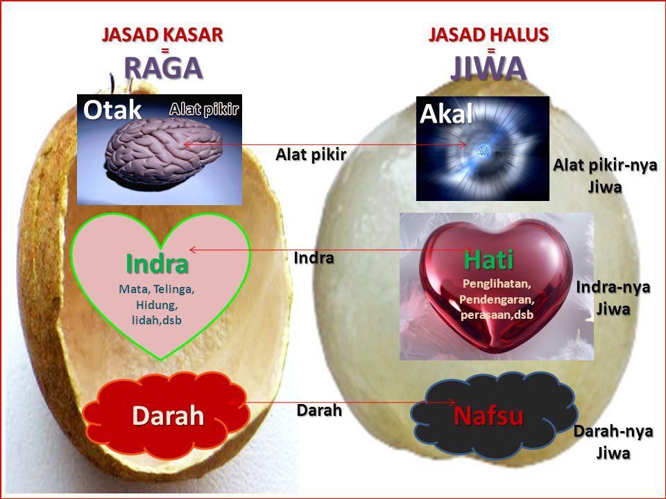 JIWA RAGA Otak Akal Indra Hati Darah Nafsu JASAD KASAR JASAD HALUS