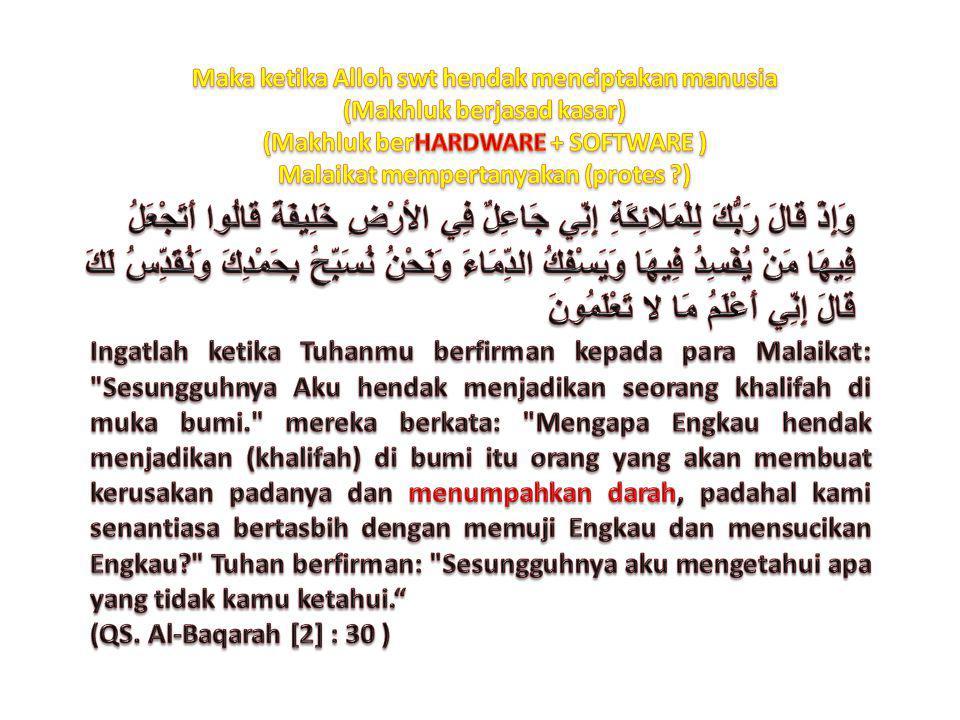 Maka ketika Alloh swt hendak menciptakan manusia