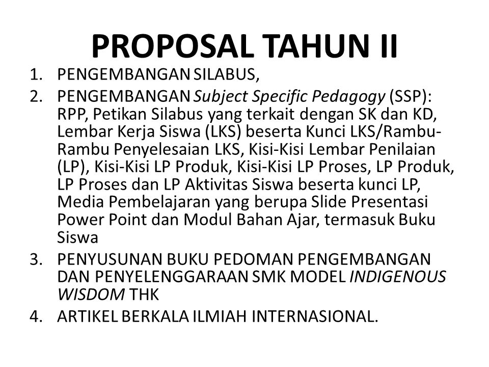 PROPOSAL TAHUN II PENGEMBANGAN SILABUS,