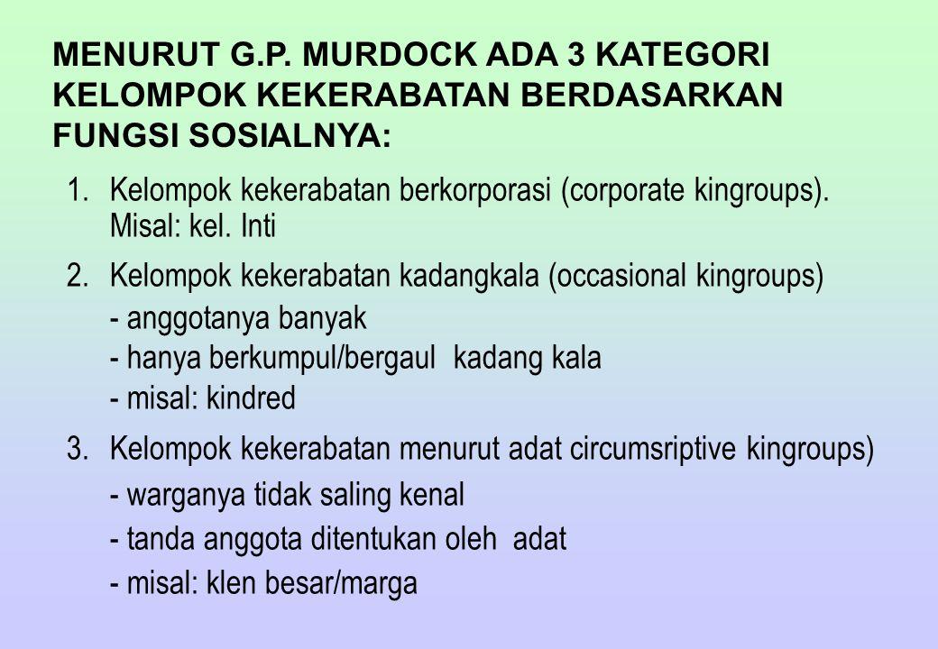 MENURUT G.P. MURDOCK ADA 3 KATEGORI KELOMPOK KEKERABATAN BERDASARKAN FUNGSI SOSIALNYA: