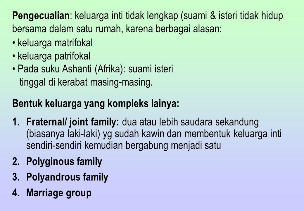 Pengecualian: keluarga inti tidak lengkap (suami & isteri tidak hidup bersama dalam satu rumah, karena berbagai alasan: