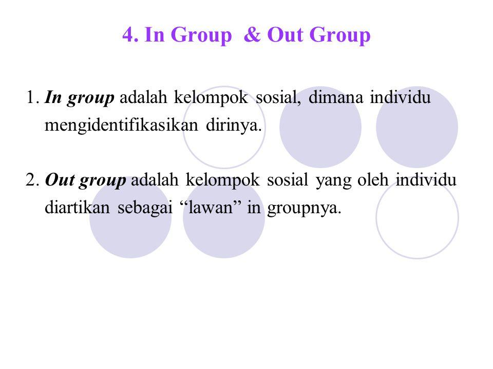 4. In Group & Out Group 1. In group adalah kelompok sosial, dimana individu. mengidentifikasikan dirinya.