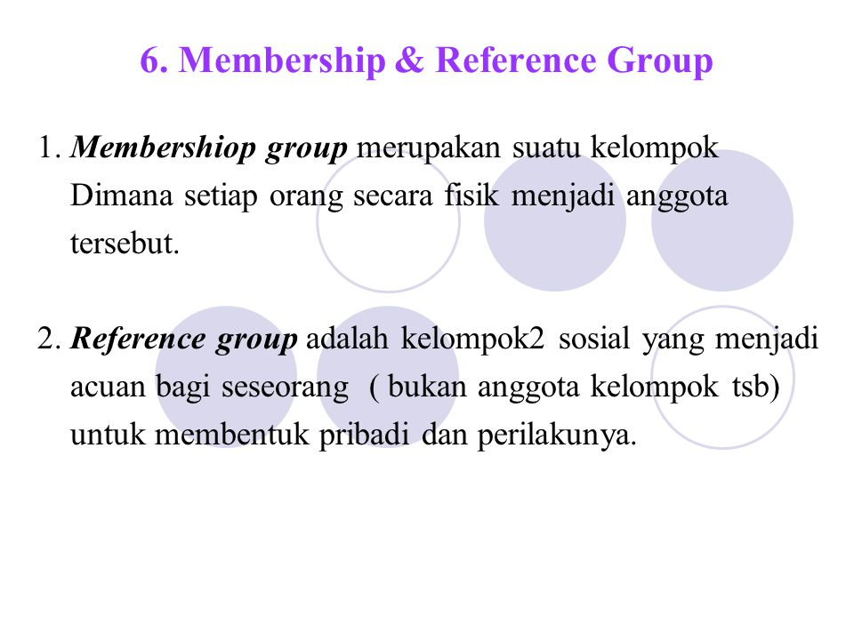 6. Membership & Reference Group