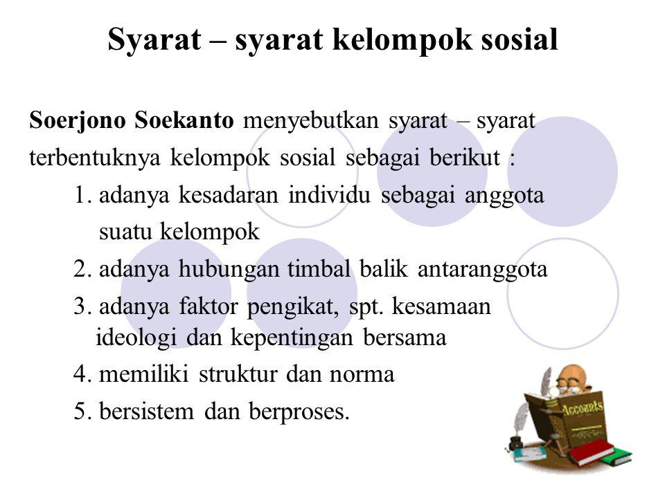 Syarat – syarat kelompok sosial