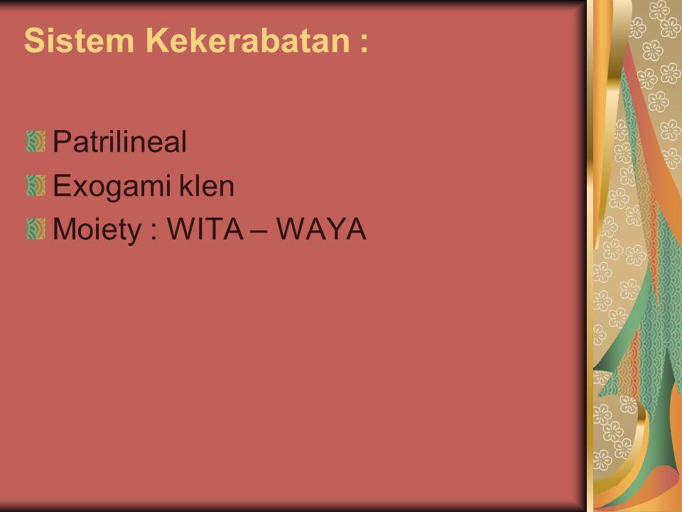 Sistem Kekerabatan : Patrilineal Exogami klen Moiety : WITA – WAYA