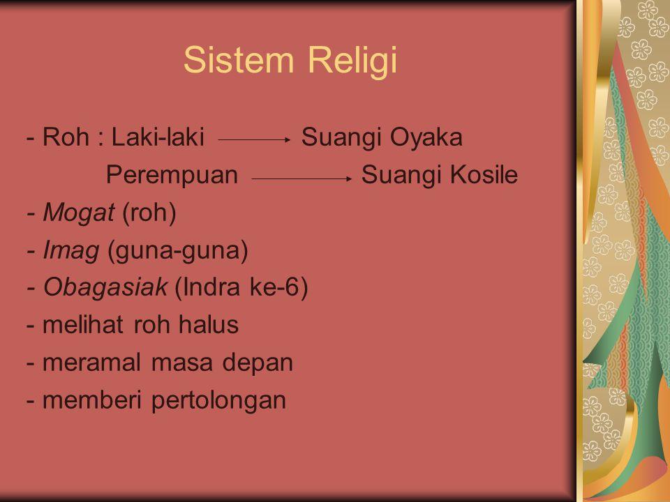 Sistem Religi - Roh : Laki-laki Suangi Oyaka Perempuan Suangi Kosile