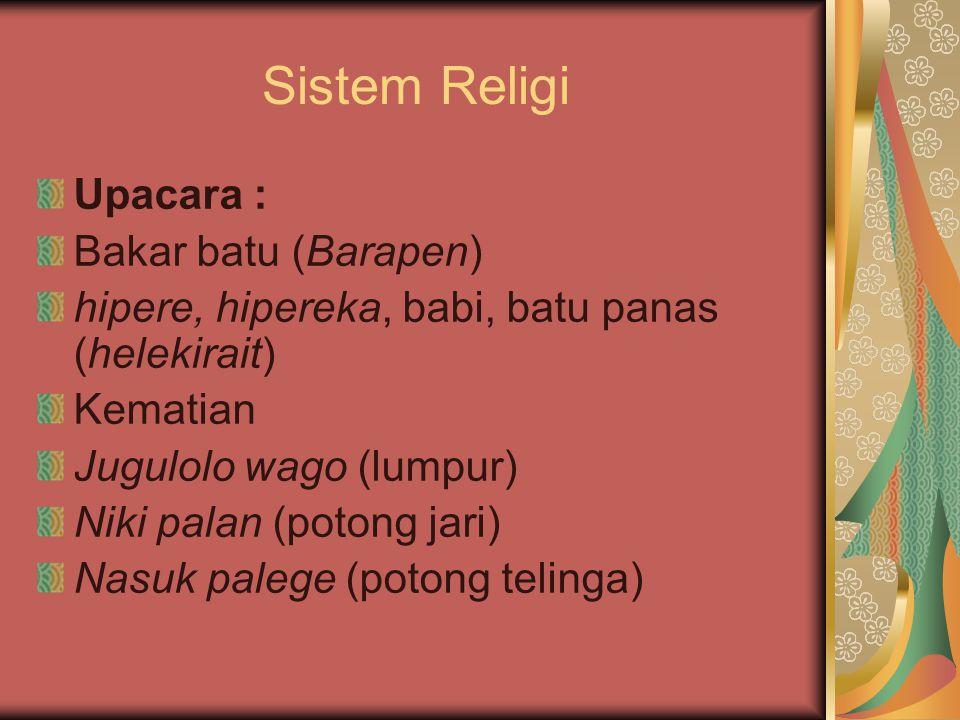 Sistem Religi Upacara : Bakar batu (Barapen)