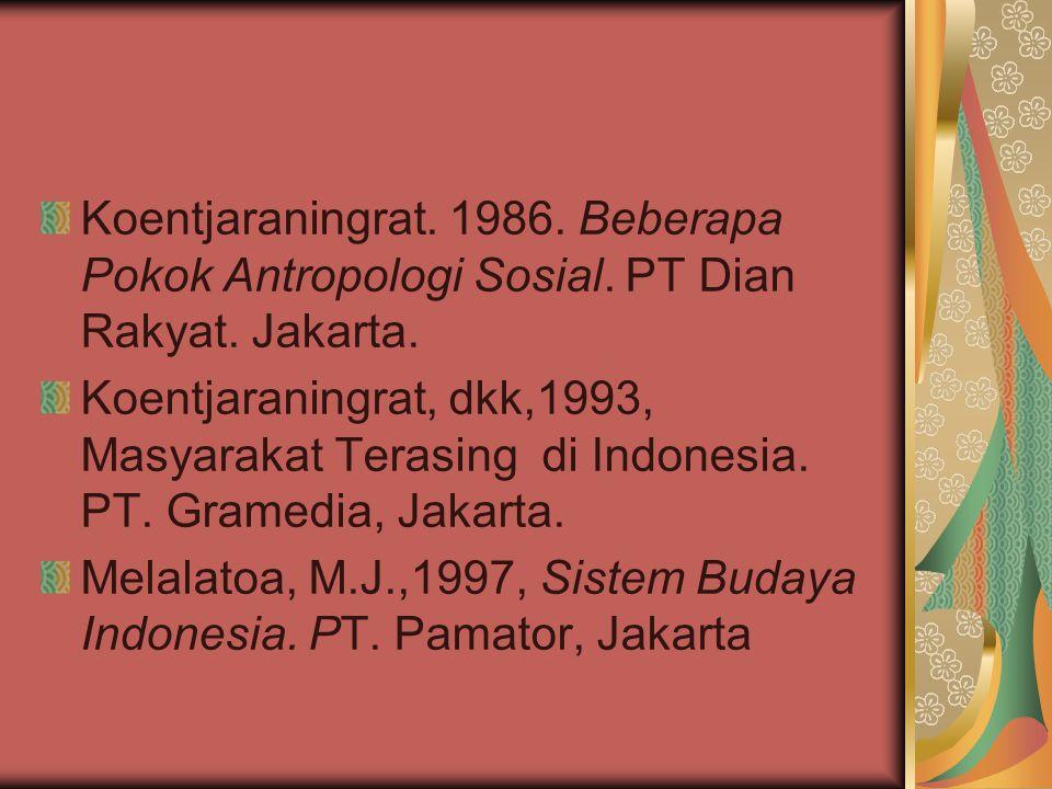 Koentjaraningrat. 1986. Beberapa Pokok Antropologi Sosial