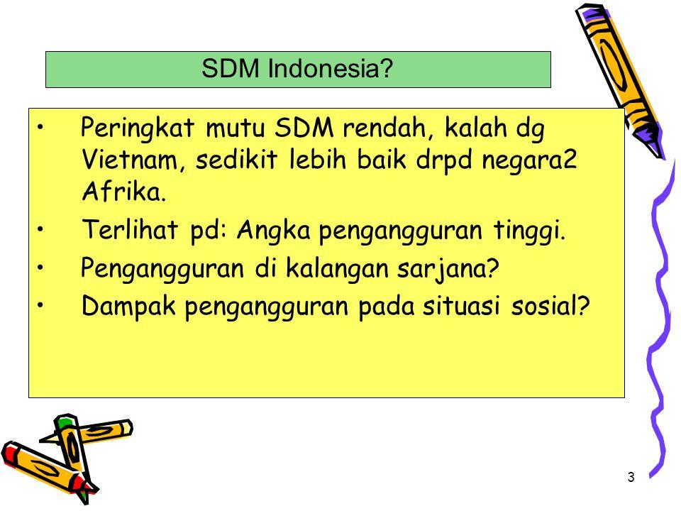 SDM Indonesia Peringkat mutu SDM rendah, kalah dg Vietnam, sedikit lebih baik drpd negara2 Afrika.