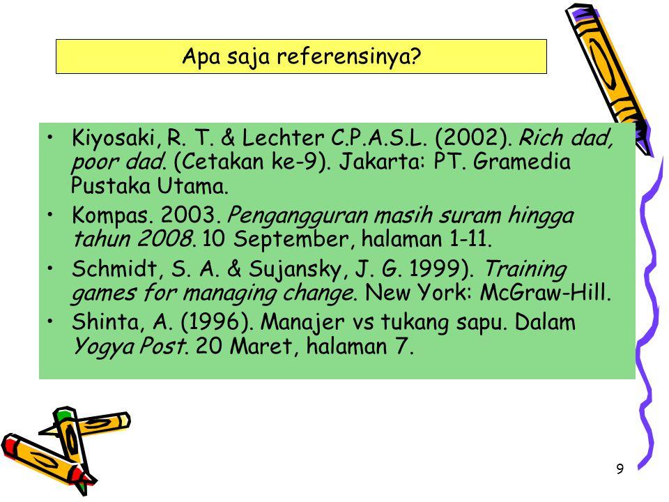 Apa saja referensinya Kiyosaki, R. T. & Lechter C.P.A.S.L. (2002). Rich dad, poor dad. (Cetakan ke-9). Jakarta: PT. Gramedia Pustaka Utama.