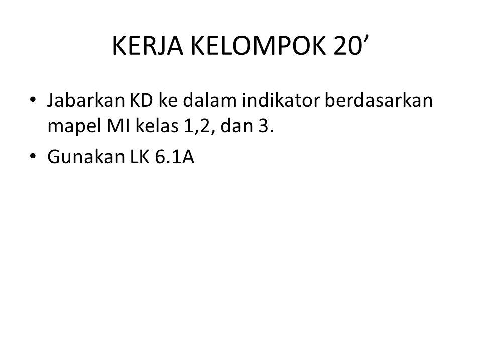 KERJA KELOMPOK 20' Jabarkan KD ke dalam indikator berdasarkan mapel MI kelas 1,2, dan 3.
