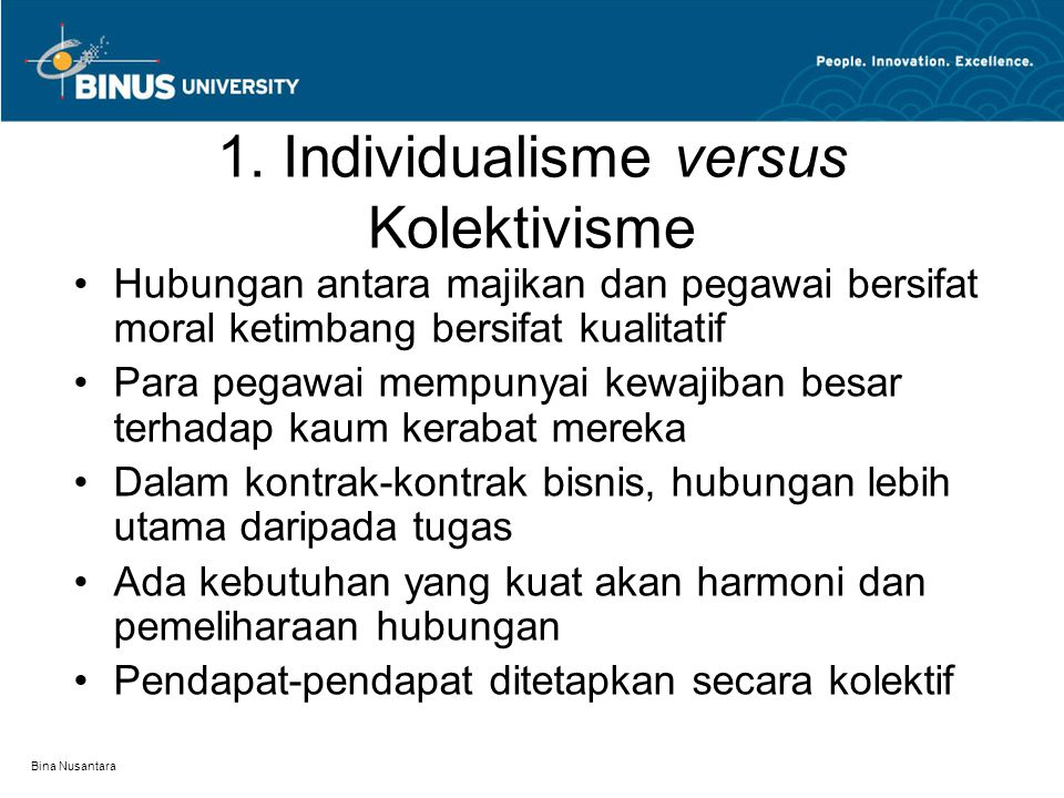 1. Individualisme versus Kolektivisme