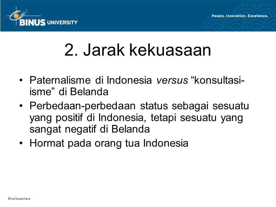 2. Jarak kekuasaan Paternalisme di Indonesia versus konsultasi-isme di Belanda.