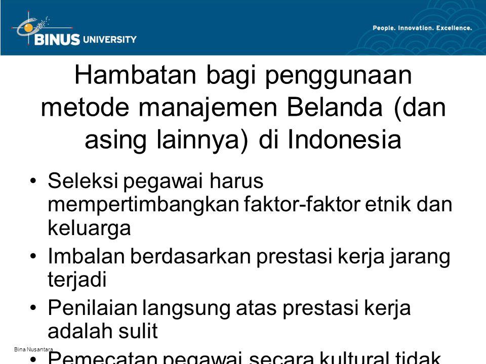 Hambatan bagi penggunaan metode manajemen Belanda (dan asing lainnya) di Indonesia