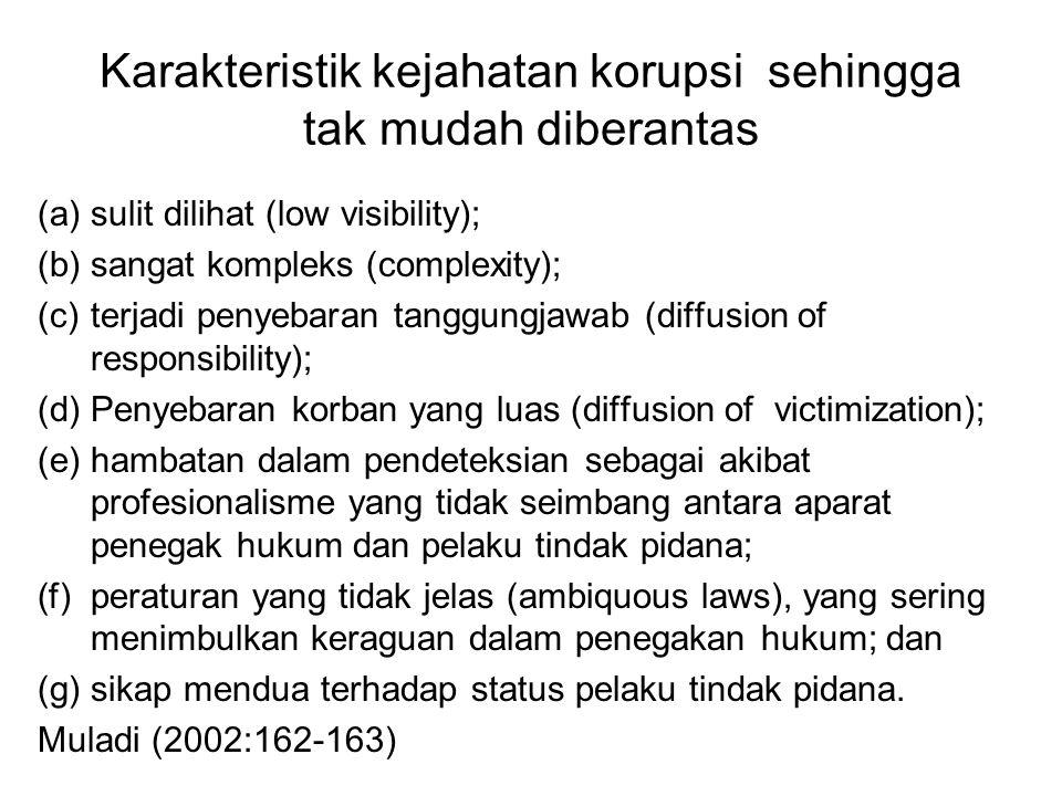 Karakteristik kejahatan korupsi sehingga tak mudah diberantas