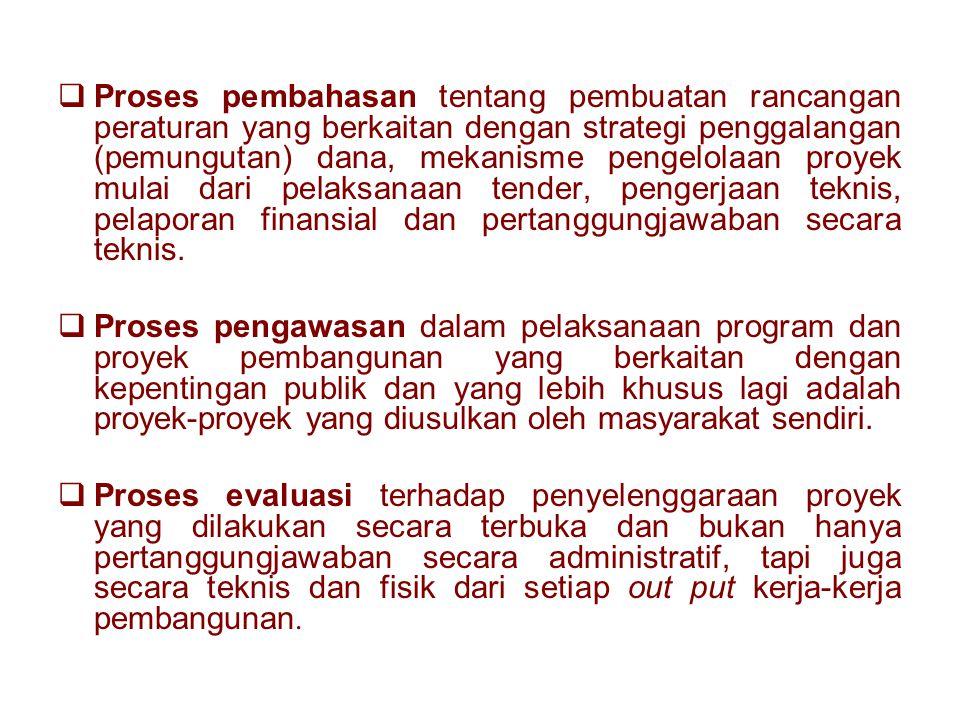 Proses pembahasan tentang pembuatan rancangan peraturan yang berkaitan dengan strategi penggalangan (pemungutan) dana, mekanisme pengelolaan proyek mulai dari pelaksanaan tender, pengerjaan teknis, pelaporan finansial dan pertanggungjawaban secara teknis.