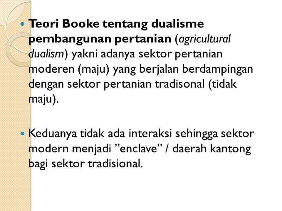 Teori Booke tentang dualisme pembangunan pertanian (agricultural dualism) yakni adanya sektor pertanian moderen (maju) yang berjalan berdampingan dengan sektor pertanian tradisonal (tidak maju).
