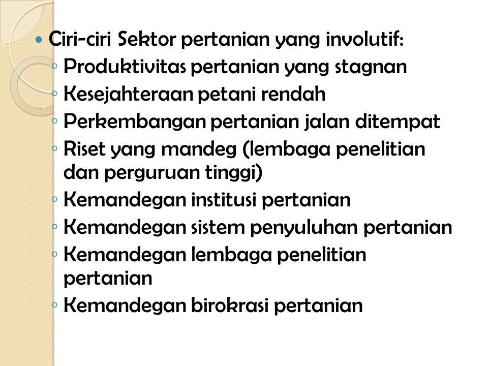 Ciri-ciri Sektor pertanian yang involutif: