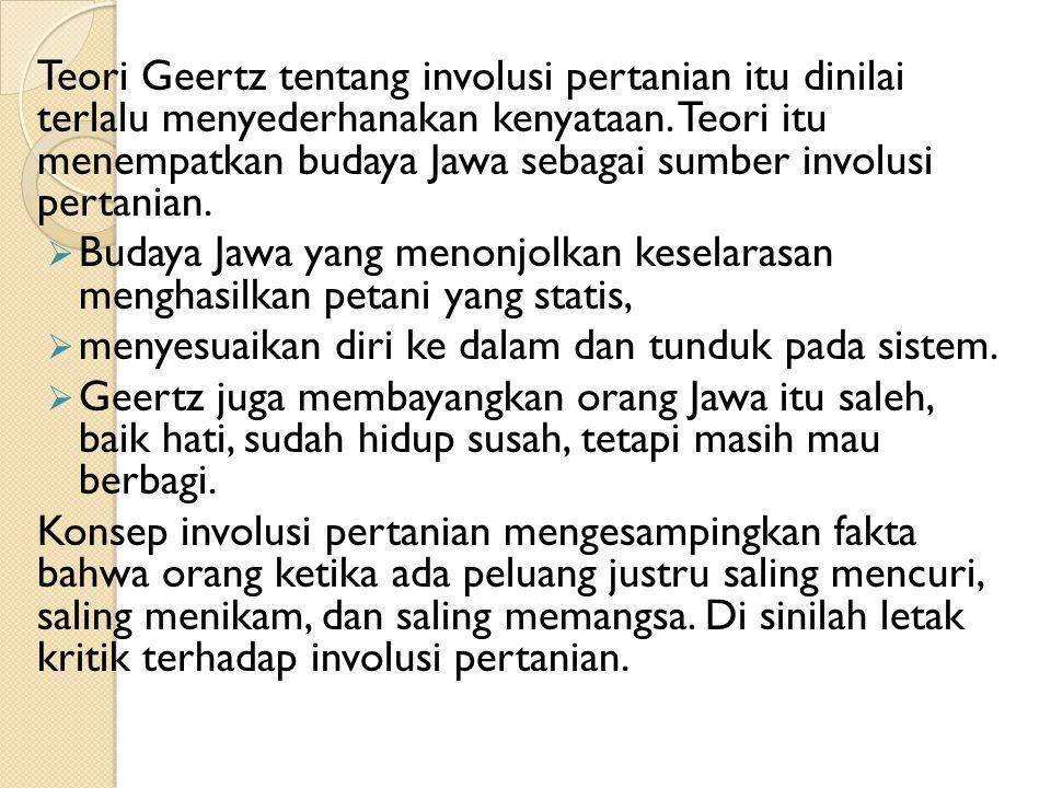 Teori Geertz tentang involusi pertanian itu dinilai terlalu menyederhanakan kenyataan. Teori itu menempatkan budaya Jawa sebagai sumber involusi pertanian.