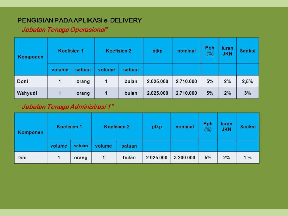 PENGISIAN PADA APLIKASI e-DELIVERY Jabatan Tenaga Operasional Jabatan Tenaga Administrasi 1