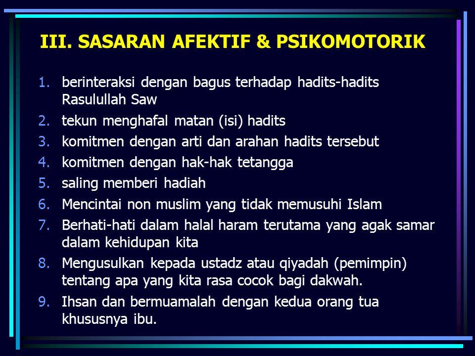 III. SASARAN AFEKTIF & PSIKOMOTORIK