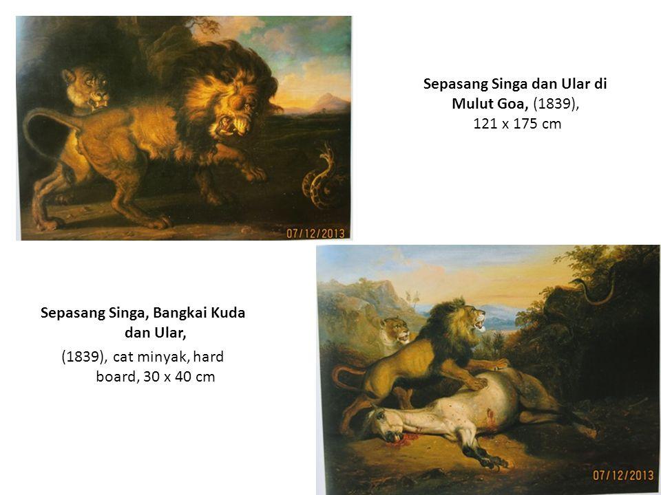 Sepasang Singa dan Ular di Mulut Goa, (1839), 121 x 175 cm