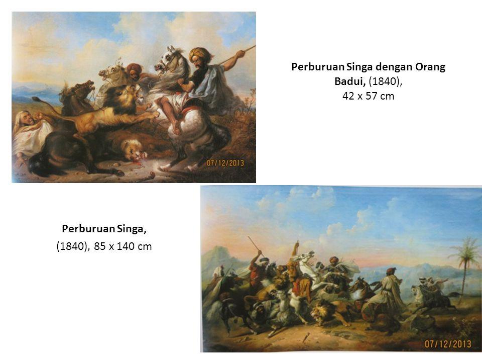 Perburuan Singa dengan Orang Badui, (1840), 42 x 57 cm